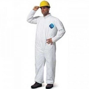 DupontTM Large White 5.4 Mil Tyvek® Disposable Coveralls with Front Zipper Closure, Collar and Set Sleeves (25 Per Case)