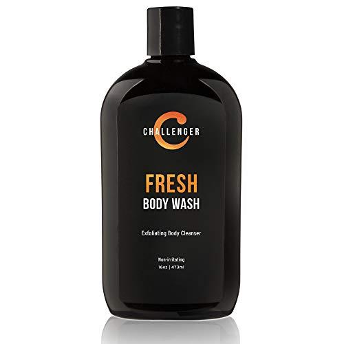 New Challenger Fresh Body Wash - 16oz Exfoliating Cleanser w/Aloe, Vitamin E, Tea Tree & Jojoba Oils - For Men & Women - Moisturizing and De-odorizing Lather for Smooth, Strong Skin (2 Month Supply) (Men Face Moisturizing Wash)