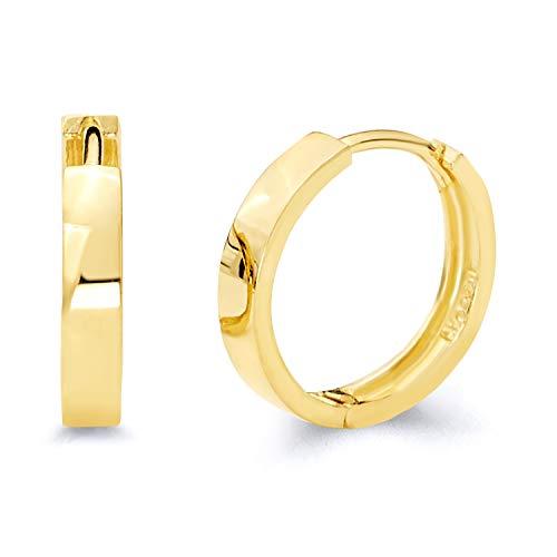 14k Yellow 3mm Hoop Earrings - 14k Yellow Gold 3mm Thickness Hoop Huggie Earrings (14 x 14 mm)