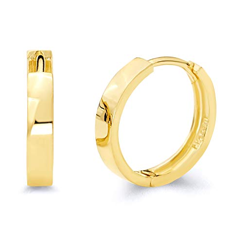 - 14k Yellow Gold 3mm Thickness Hoop Huggie Earrings (14 x 14 mm)
