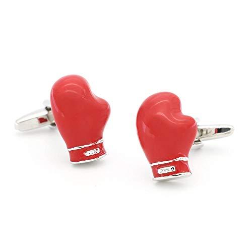 Glove Cufflinks - SJJY Red Boxing Gloves Cufflinks 2PC Boxing Athletes Decoration Personality Metallic Copper Cufflinks