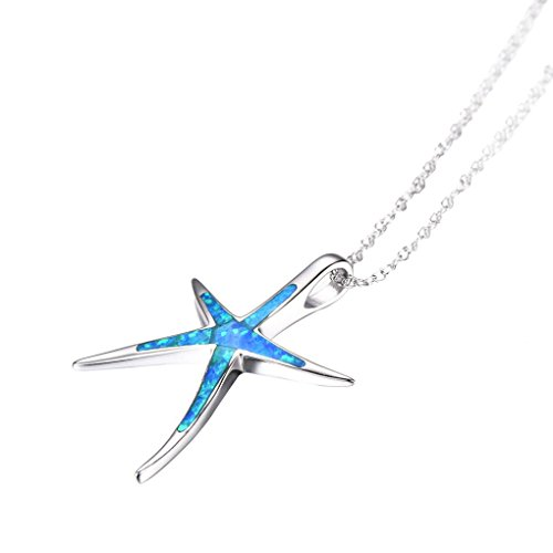 ei Women Sterling Silver Charm Blue Opal Starfish Pendant Necklace ()