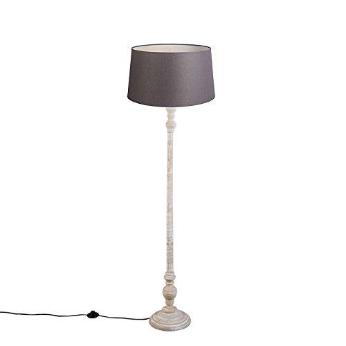 QAZQA Clásico/Antiguo Lámpara de pie CLASSICO pantalla lino marrón grisáceo 45cm Madera/Textil Cilíndra/Alargada Adecuado para LED Max. 1 x 40 ...