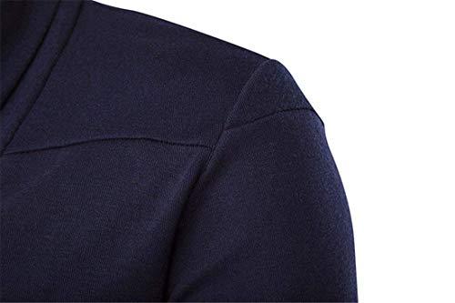 Exteriores BoBoLily De Puro Solapa De Larga Abrigo De E De Los Manga De Color Elegante Larga Otoño Invierno Vestir De Suéter Hombres Navy Prendas Blue Punto De Manga vwqzrvBx
