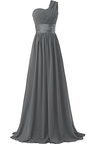 aermellos Linie Ivydressing ein Rueckenfrei lang Brautfernkleid Grau Damen Chiffon Abendkleid Promkleid schulter A romantisch qrxrZw0g