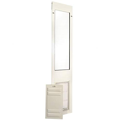 "Endura Flap Pet Door Thermo Panel 3e - Large Flap (10"" x 19""), Height range (77.25"" - 80.25"") White Aluminum Frame"