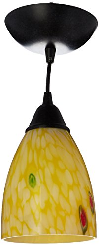 Elk 406-1YW-LED Classico 1-LED Light Pendant with Yellow Blaze Glass Shade, 5 by 7-Inch, Dark Rust Finish