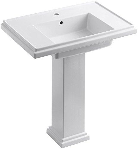 KOHLER K-2845-1-0 Tresham 30-inch Pedestal Bathroom Sink with Single-Hole Faucet Drilling, White 30 Tresham Pedestal Lavatory