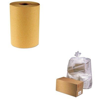 KITBWK6256JAGD3865 - Value Kit - Jaguar Plastics D3865 Clear Industrial 2.5 Mil Drum Can Liners, 38quot; x 65quot; (JAGD3865) and Boardwalk 6256 Natural Hardwound Roll Paper Towels, 8quot; x 800' (BWK6256)