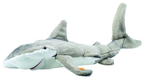 (Steiff 063633 Sam Hammerhead Shark Plush Animal Toy, Grey/White)