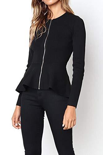 Donne Sottile Zip Giacca Outerwear Manica Giacche Autunno Primavera Lunga Jacket Tops Con Cime E Corto Coat Casual Cappotto Nero Blazer Oufour wqxfF6x