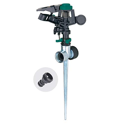 Melnor 65052-AMZ Plastic Pulsating Sprinkler on Metal Spike with QuickConnect Product Adapter Set, Green, Black, Silver