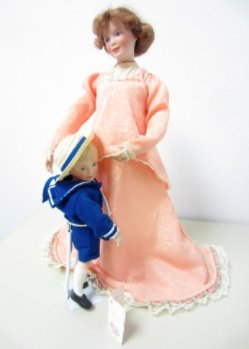 Limited Edition Expectant Moments Mother and son porcelain dolls artist Sandra Kunk of the Precious Memories of Motherhood Collection Hallmarks of Reco and W.S George China Company 1992