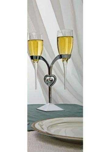 Silver Raindrop Stem Wedding Toasting Glasses Flutes w/Heart Stand
