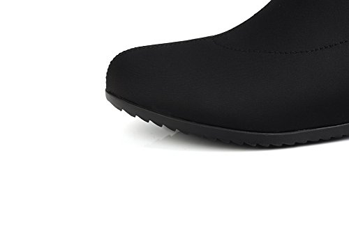 AmoonyFashion Style and heels toe Women's Low toe Black Closed Bottom Curves with Pointed Boots Rubber rTrqw4