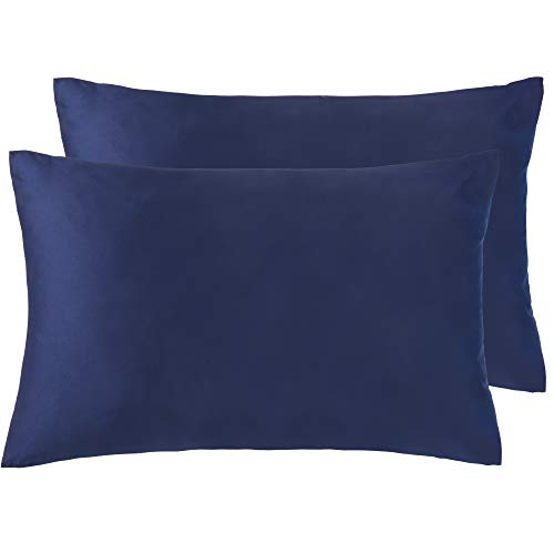 NTBAY Silky Satin Queen Pillowcases Set of 2, Super Soft and Luxury, Hidden Zipper Design, Navy Blue, Queen Size