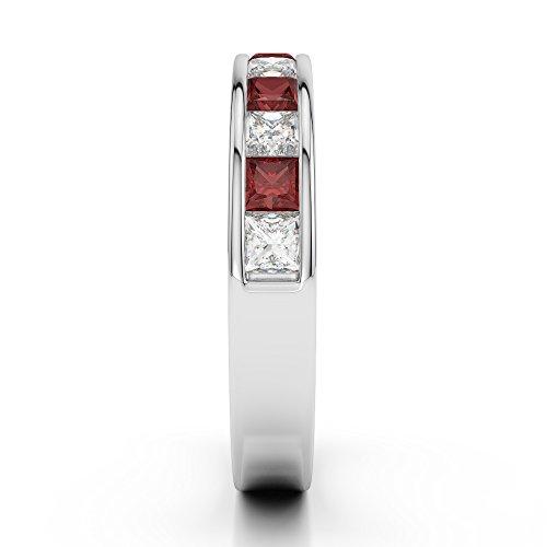 G-H/VS 1/2ct Coupe Princesse Certifié Grenat et diamants en platine 950Agdr-1137