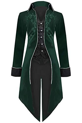 Medieval Steampunk Tailcoat Halloween Costumes for Men, Renaissance Pirate Vampire Gothic Jackets Vintage Warlock Frock Coat (XXL, ()