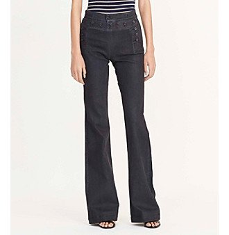 Cotton Sailor Pants - Lauren Ralph Lauren Women's Flared Sailor Jeans, Black Indigo (6)