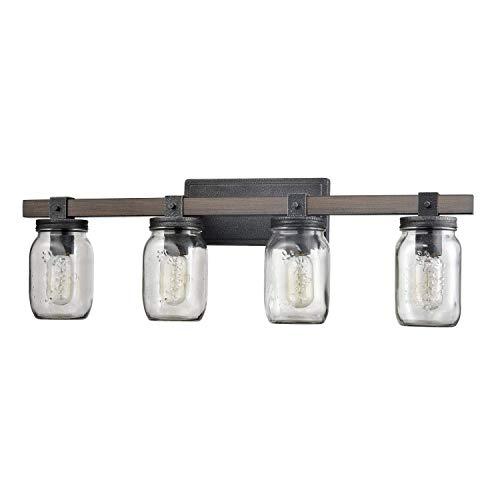 Vintage Four Light Bathroom Vanity Fixture with Glass Jar Shade & Metal Wood Grain Finish