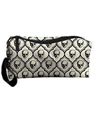 Travel Makeup Skulls - Bone Black Cosmetic Pouch Makeup Travel Bag Purse Holiday Gift For Women Or Girls ()