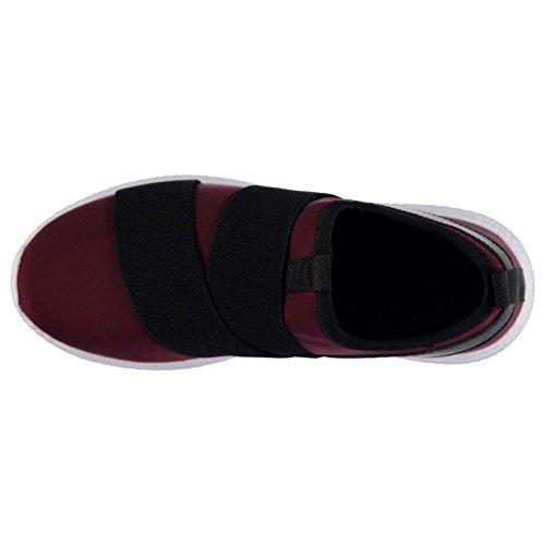 Fabric Zoop Slip On Trainers Womens Burgundy/Blk Sneakers Sports Shoes Footwear kkRLYk3