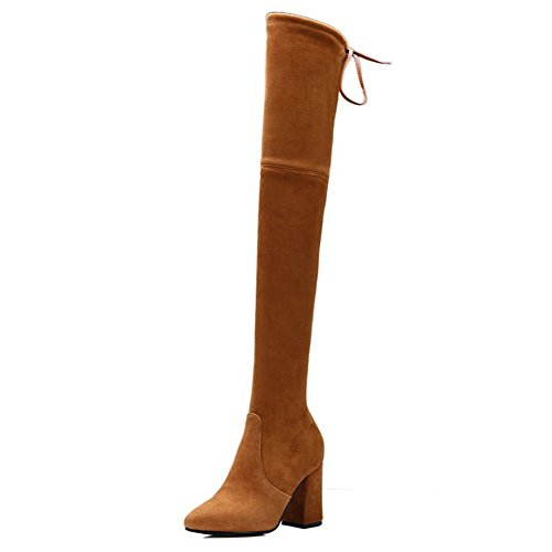 Comfity Boots for Women, Pointy Toe Over The Knee Boots Lace up Chunky Heels Strechy Thigh High Boots - Tall Brown Suede Boots