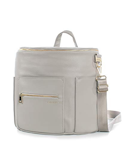 Fawn Design Original Diaper Bag Designed for Women - Backpack for Baby Essentials, Diapers, and Everyday Use - Premium Faux Leather, Interior/Exterior Pockets, Interchangeable Straps - Gray 2019 by Fawn Design (Image #1)