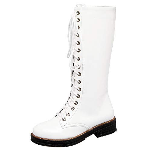 Coolcept?Women?Fashion?Mid?Calf?Boots?Zip Shoes? White-warm