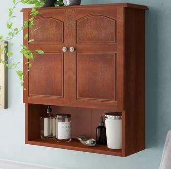 Ark Decor- Recessed Medicine Cabinet - Mahogany Wood Two Door Two Shelves - Perfect Storage for Your Essentials at Home