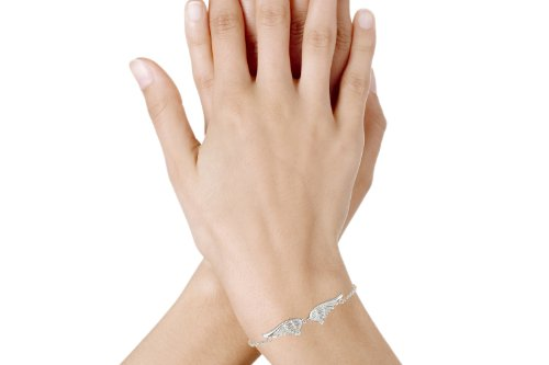 Les Poulettes Jewels Bracelet Sterling Silverwith 2 Angel Wings Adjustable Chain