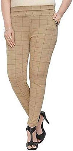 UDAY GARMENTS,Checks Trouser Pants Stretchable High Waist Ankel Length Jeggings for Girls & Women Free Size