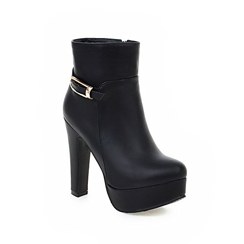 Black Ladies Imitated Wheeled BalaMasa Leather Buckle Boots Formal Shoes Heel Pzwq6RqZ1