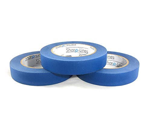 Pack of 3, 0.94'' Professional Grade Multi Use Blue Painters Tape/Masking Tape by Sharp Lines. Waterproof Crepe and Quality Adhesive Leaves no Residue Behind. Razor Clean Edges. Total of 180 Yards by Sharp Lines