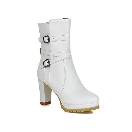 AllhqFashion Women's Round Closed Toe PU Zipper High-heels Mid-top Boots, White, 38 (White Boot Tops)