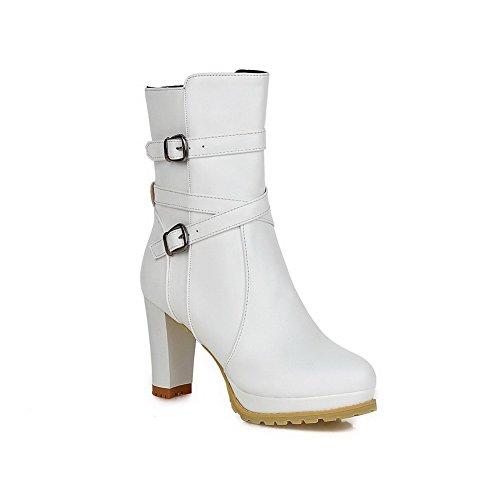 (VogueZone009 Women's Zipper Round Closed Toe Blend Materials PU Mid-top Boots, White,)