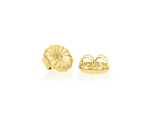 14k Yellow Gold Earring Back Replacement Secure and Comfortable with Ear Locking Tension Grip Tight Nut (Round Tension Set Earrings)
