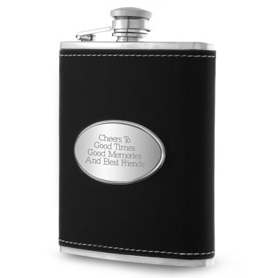 (Things Remembered Personalized Black Leather 6 oz. Flask, Engraved Flask with Engraving Included)