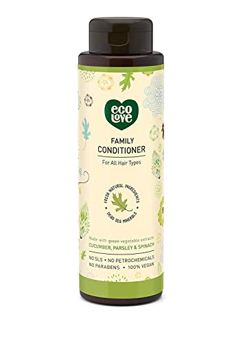 ecoLove - Organic Conditioner with Cucumber Spinach and Parsley for All Hair Types Vegan Hair Conditioner for Women Men Kids Babies Cruelty Free SLS Free,17.6 oz