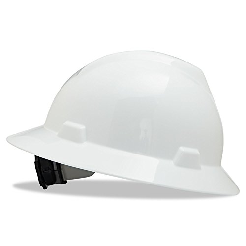 MSA 475369 V-Gard Hard Hat Full Brim with Ratchet Suspension, Standard, White from MSA