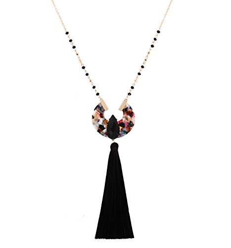 Boderier Long Necklaces for Women Crystal Beaded Chain Teardrop Stone Round Acrylic Drop Tassel Pendant Necklace (Black)