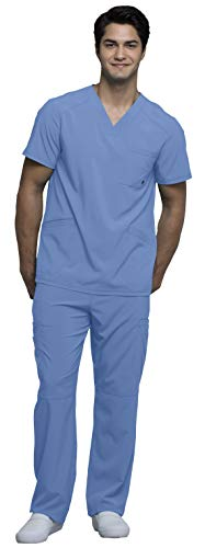 Cherokee Infinity Men's V-Neck Top with Certainty CK900A & Drawstring Cargo Pant CK200A Scrub Set (Antimicrobial) (Ciel - Large/X-Large)