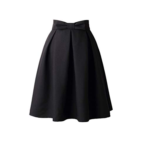 VEZAD Womens Vintage Dress Knee Length High Waist Pleated Bow Dress