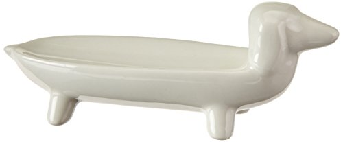 Creative Co-op Elongated White Ceramic Dog Dish -