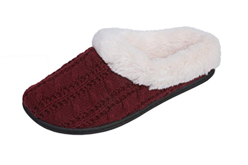 Beverly Rock Womens Cable Knit Plush Faux Fur Scuff House Slipper Burgundy eA1F4M2