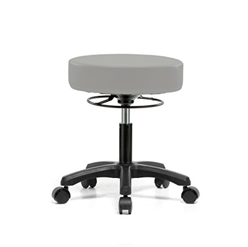 PERCH Life Rolling Height Adjustable Stool for Carpet & Linoleum | Desk Height 18-23 inches | 250-pound Weight Capacity | 12 Year Warranty (Gray Vinyl)