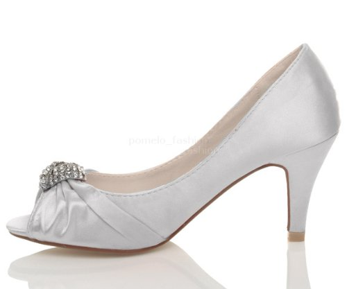 Donna matrimonio sera tacco medio alto punta aperta sandali scarpe taglia 5 38