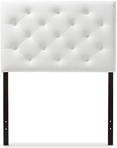 Baxton Studio Yvette Modern and Contemporary White Faux Leather Upholstered Button Tufted Headboard