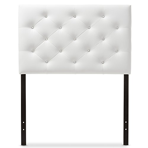 (Baxton Studio Yvette Modern and Contemporary White Faux Leather Upholstered Button Tufted Headboard, Twin)