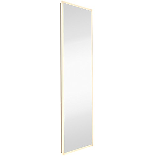Tall Vanity Stand Chrome Mirror - Global Frameless Mirror with Lights   Lighted Edge Backlit LED Wall Mirror   Contemporary Glass Illuminated Frame   Full Length Hanging Vertical or Horizontal Rectangle (18 x 59)